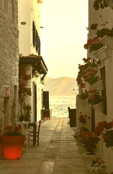 Walkway to the Sea, Santorini, Greece