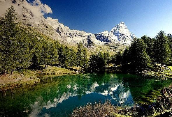 Matterhorn reflected in Lago Blu, Val d'Aosta, Italy
