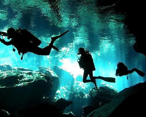 Divers exploring Garden of Eden Cenote, Mayan Riviera, Mexico