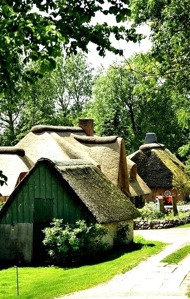 Cottages in Simonsberg village, Schleswig-Holstein, Germany