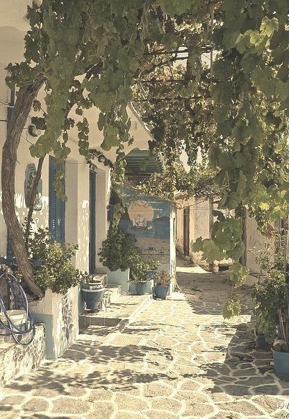 Beautiful street in Glossa, Northern Sporades, Greece