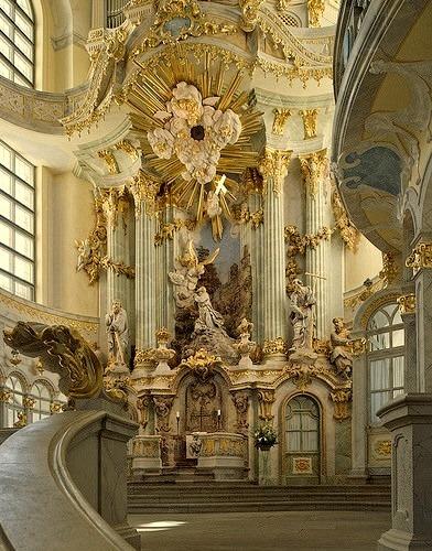 Baroque architecture inside Frauenkirche, Dresden, Germany