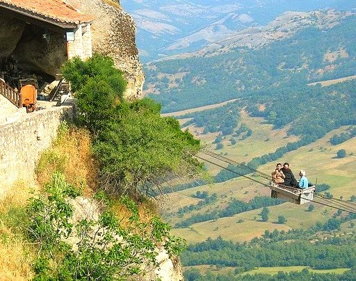 Lift used only by monks at Meteora monastery, Greece . Oh, wow!