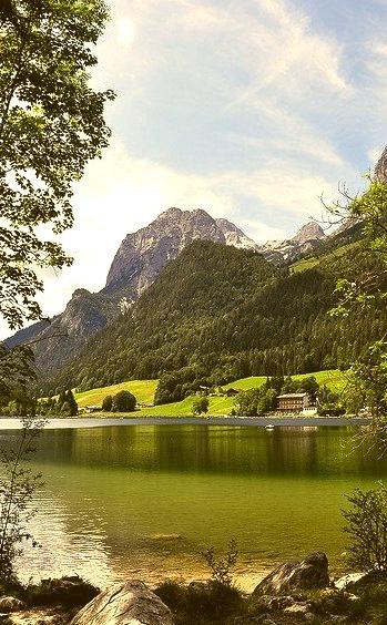 Idyllic alpine lake Hintersee in Bavaria, Germany