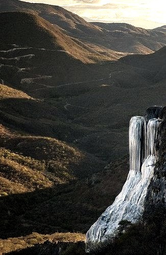 Petrified waterfall at Hierve el Agua in Oaxaca, Mexico