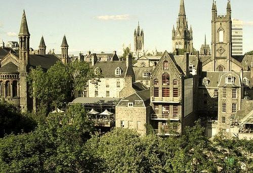 Viewed across the verdant Union Terrace Gardens, Aberdeen, Scotland