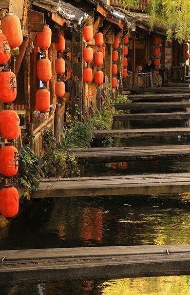 Crossings and lanterns in Lijiang, Yunnan, China