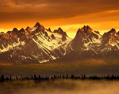The Alaskan Range as seen form Denali State Park, Alaska, USA