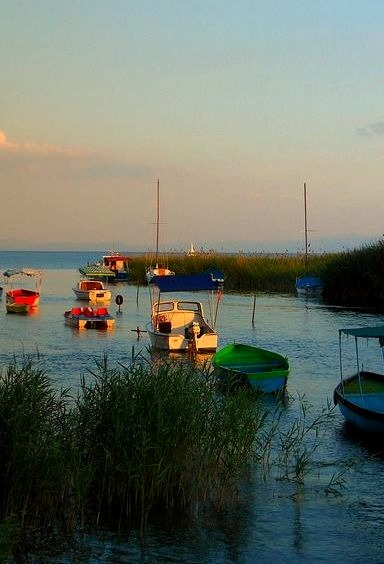 Small boats on the shores of Ohrid Lake in Macedonia