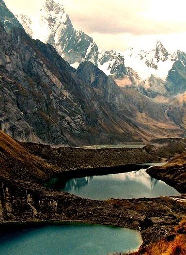 Glacial lakes in Cordillera Huayhuash, Peru