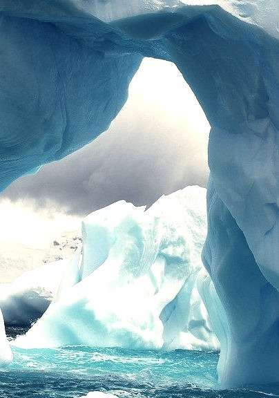 Iceberg arches on the Antarctic Coast