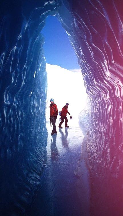Ice tunnel in Queen Maud Land territory, Antarctica