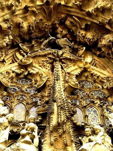 Magnificent details of Sagrada Familia in Barcelona, Spain