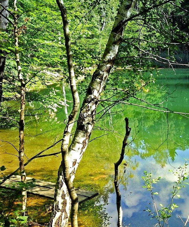 Colourful lakelets in Rudawy Janowickie Mountains, Poland