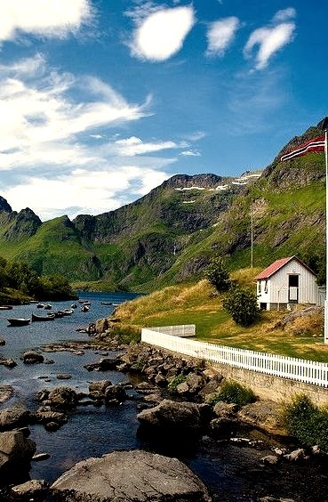 The house in the fjord, Lofoten Archipelago, Norway