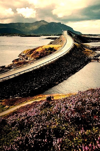 The Atlantic Ocean Road, a scenic coast road along the Norwegian Sea