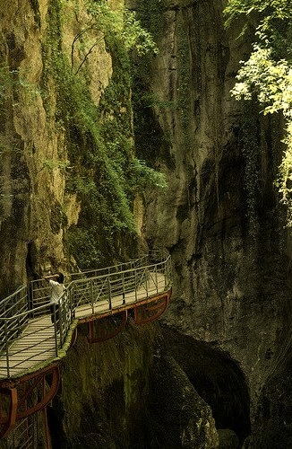 Walking platform inside Gorges du Fier, Rhone-Alpes / France